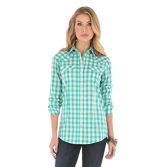 Women's Long Sleeve Western Snap One Point Yokes Plaid Top