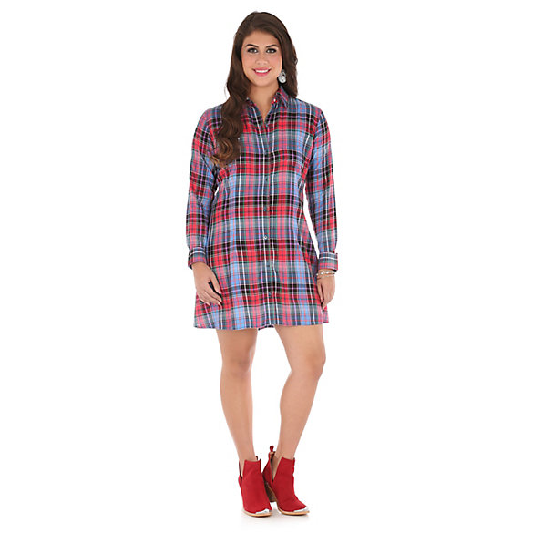 Women's Long Sleeve Patch Pockets Plaid Tunic