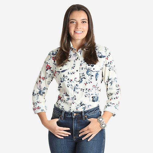c05169ec303b Women's Wrangler Retro® Long Sleeve Floral Print Western Snap Top ...
