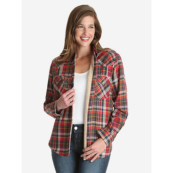 Women's Wrangler Retro® Long Sleeve Sherpa Lined Plaid Western Snap Top
