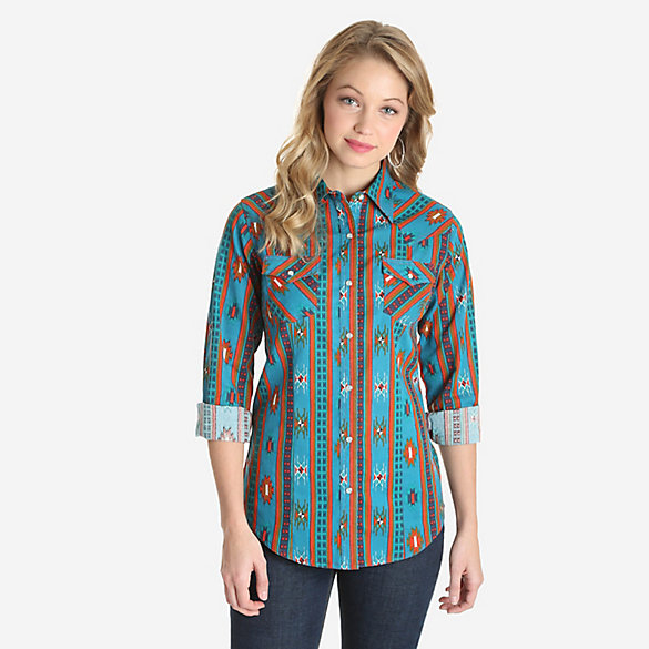Women's Long Sleeve Aztec Print Western Snap Top