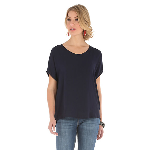 Women's Dolman V Neck with Taping Down the Back Solid Top