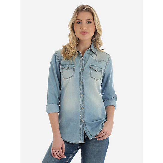 Wrangler® Premium Long Sleeve Denim Shirt with One Point Front and Back Yokes