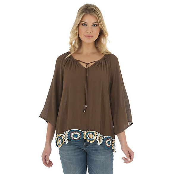 Women's Three Quarter Sleeve V Neck Embroidery Hem Detail Solid Swing Top