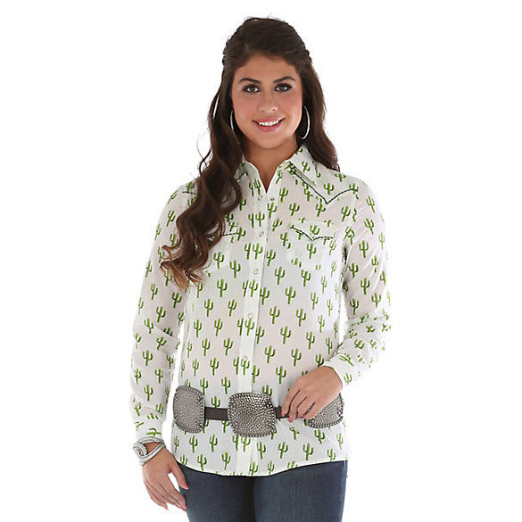 Women's Long Sleeve Western Snap Cactus Print Top