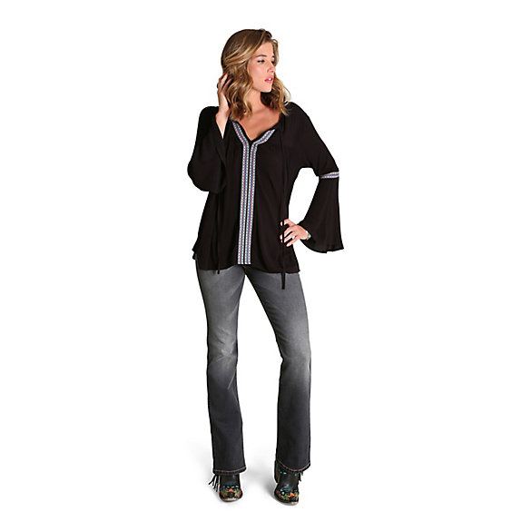 Women's Flutter Sleeve with Taping Solid Top