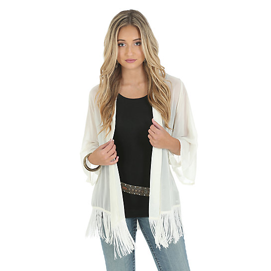 Wrangler® Premium Kimono Style Cardigan with Stud Steerhead on back - Vanilla Ice