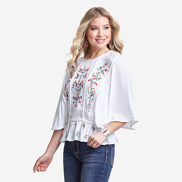 Women's Short Sleeve Embroidered Peasant Blouse