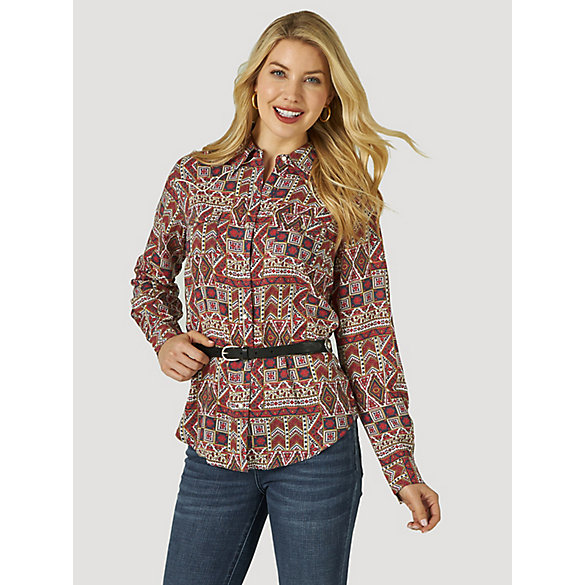 Women's Wrangler Retro® Piped Yoke Western Snap Print Shirt