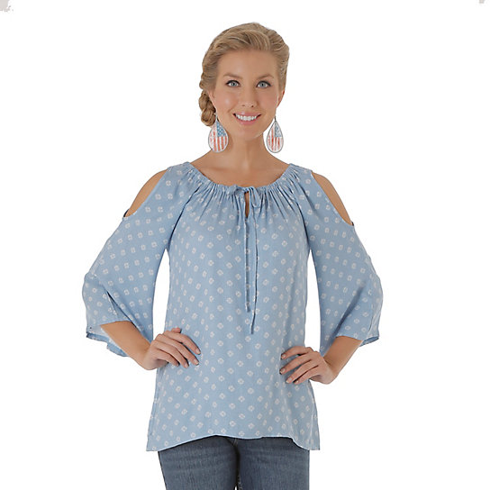 Tyler Twill with Flutter Sleeve and Cold Shoulder Printed Top