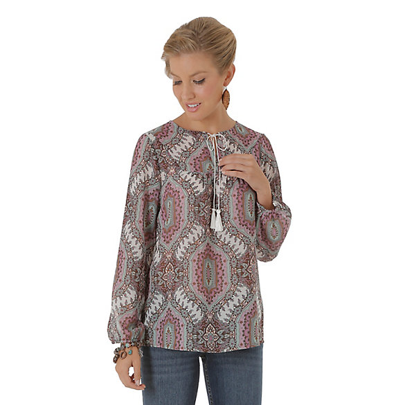 Women's Long Sleeve Peasant Printed Top