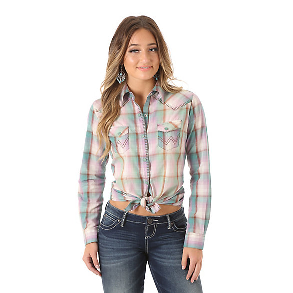 Women's Long Sleeve One Point Yokes with Blanket Stitch Plaid Top