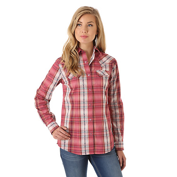 Women's One Point Biased Yokes with Sawtooth Flap Pocket Plaid Top