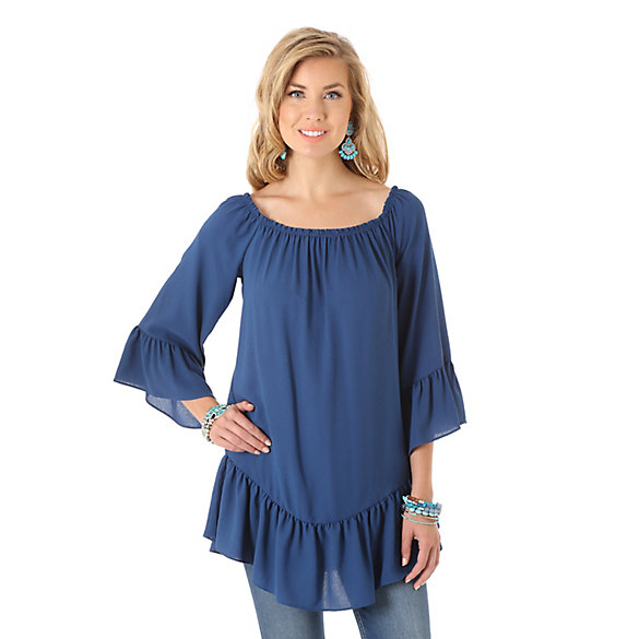 Women's Ruffle at Sleeve with Elasticized Neckline Solid Top
