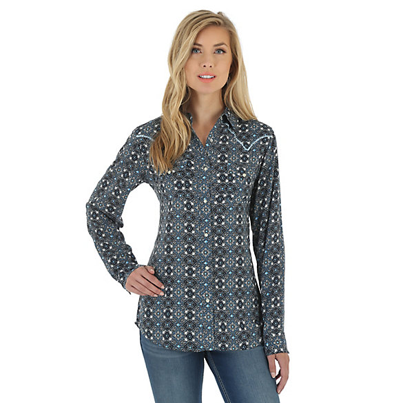 Women's One Point Yokes with Whipstitching Printed Top