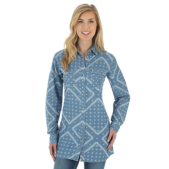 Women's Long Sleeve Button Down Allover Print Tunic