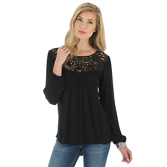 Women's Long Sleeve with Crochet Trim at Center Front Solid Top
