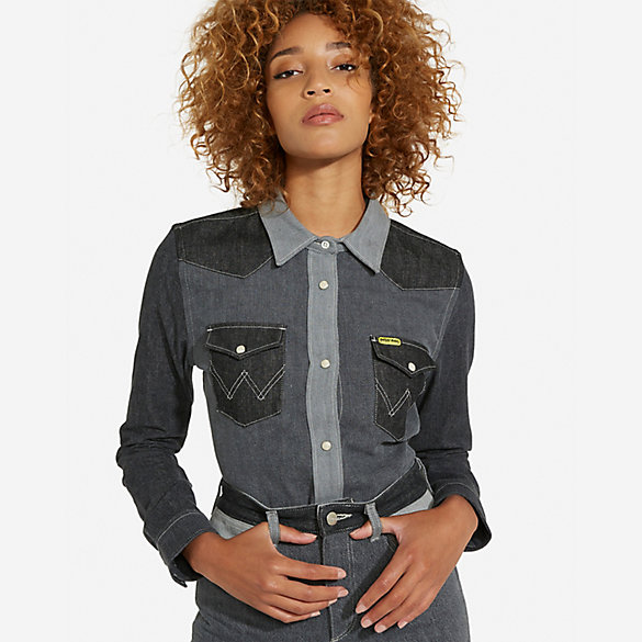 Peter Max™© X Wrangler® Winter Women'S Western Snap Grey Mix Top