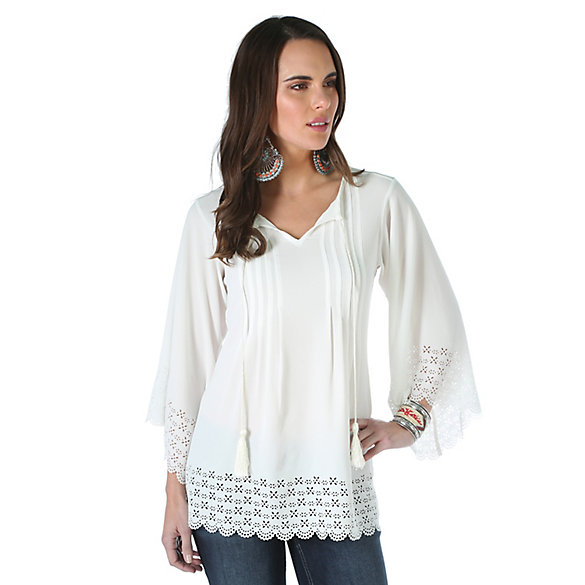 Women's Three Quarter Length Sleeve with Pintucking at Front Solid Top