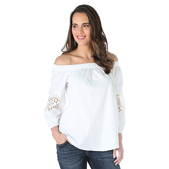 Women's Off the Shoulder with Crochet Trim Solid Top