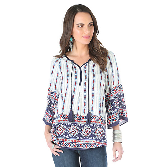Women's Long Sleeve Tie and Tassels at Front Print Top