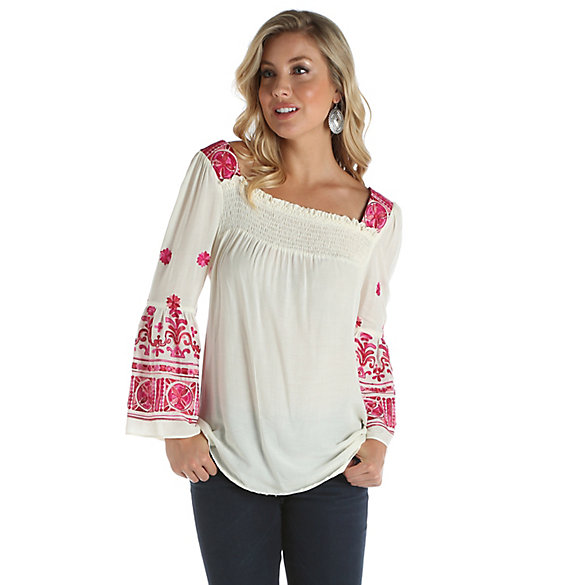 Women's Trumpet Sleeve with Smocking at Front Printed Top