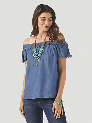 Women's Wrangler Retro® Off-The-Shoulder Chambray Top