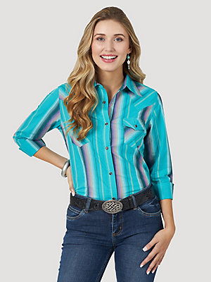 Women's Wrangler Retro® Long Sleeve Stripe Western Snap Top