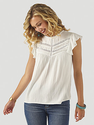 Women's Wrangler Retro® Short Sleeve Lace Trim Blouse