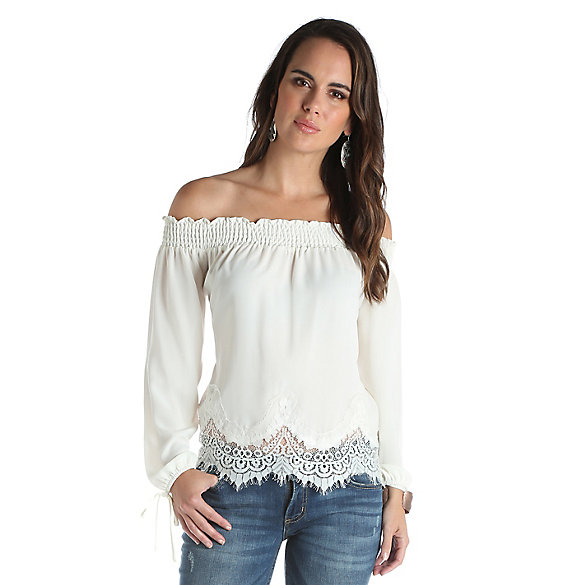 Women's Off the Shoulder Solid Top with Scalloped Lace at Bottom Hem