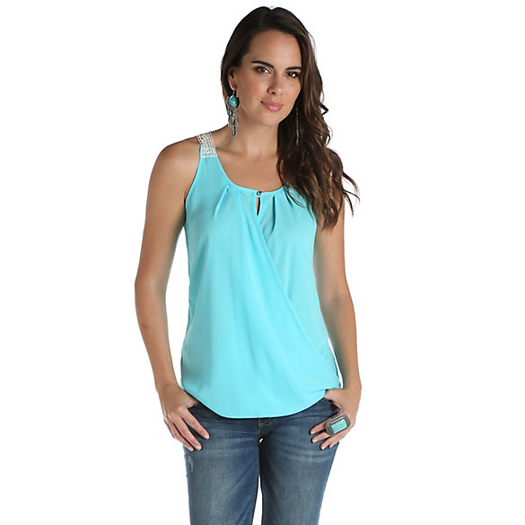 Women's Sleeveless Surplice Top with Contrast Crochet Back