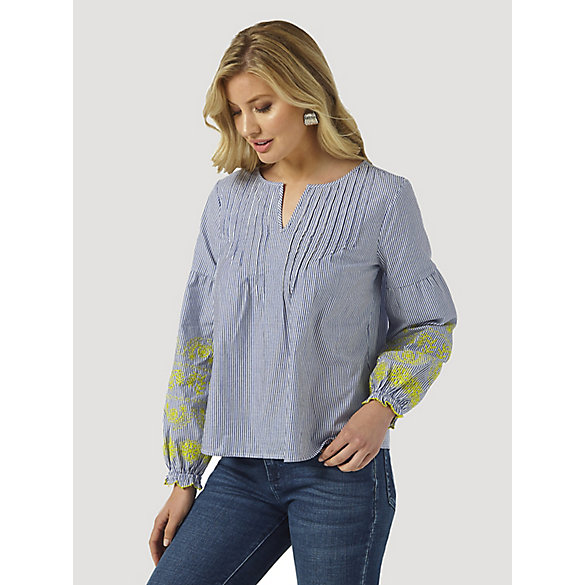 Women's Wrangler Retro® Puff Sleeve Pleated Pinstripe Blouse
