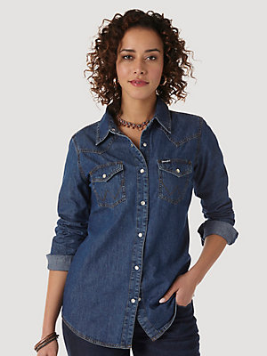 Women's Long Sleeve Western Snap Denim Shirt