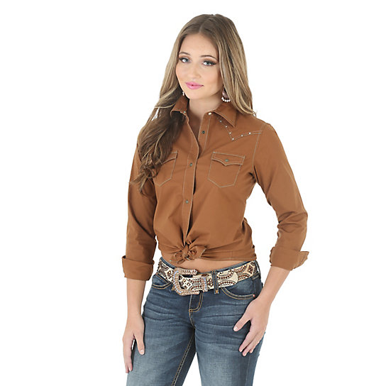 Wrangler® Western  Long Sleeve Western Yokes Heavy Stitching Solid Top  - Brown