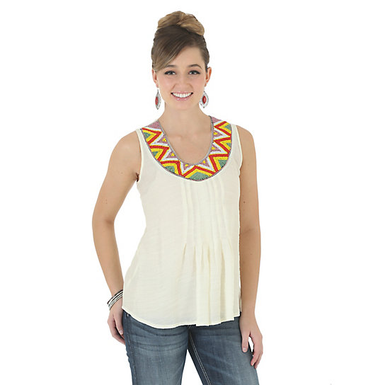 Wrangler® Western  Sleeveless with Pleats at Center Solid Top  - Vanilla Ice