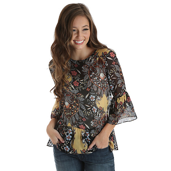Women's Allover Floral Print Bell Sleeve Top