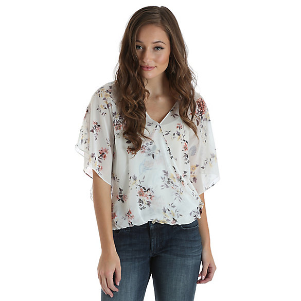 Women's Allover Floral Print Drape Front Crossover Top