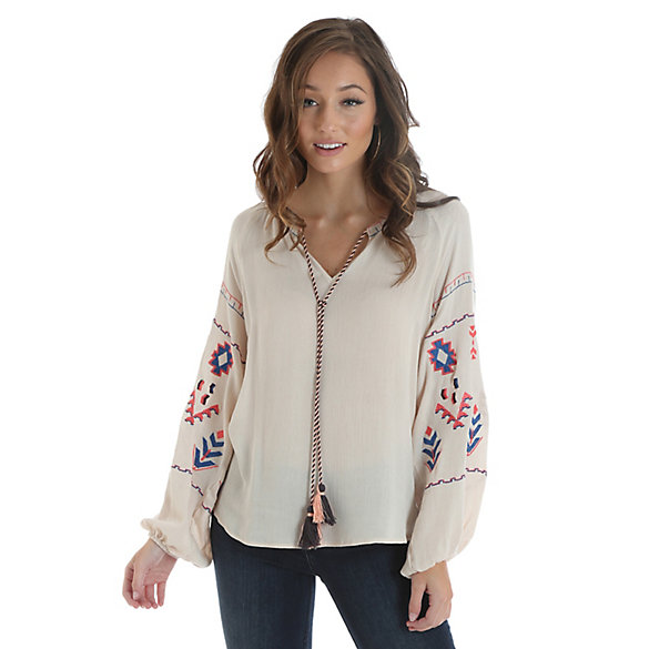 Women's Long Sleeve Embroidered Peasant Blouse