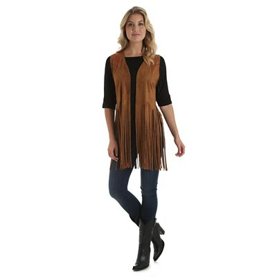 Women S Faux Suede Sleeveless Fringe Vest Womens Jackets