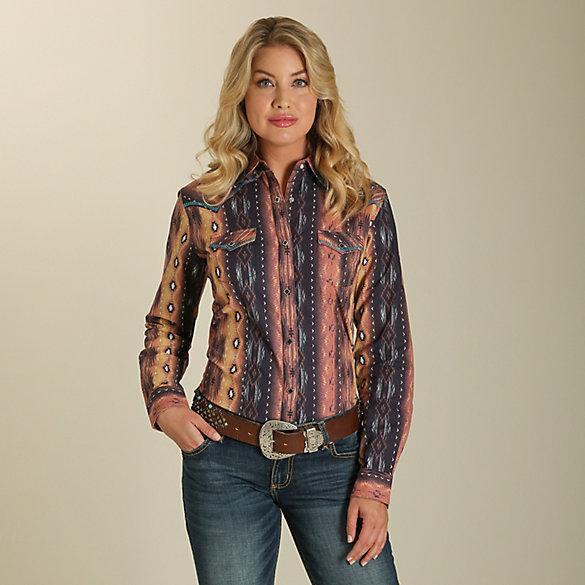 Women's Long Sleeve Aztec Print Western Snap Top with Whipstitched Yokes