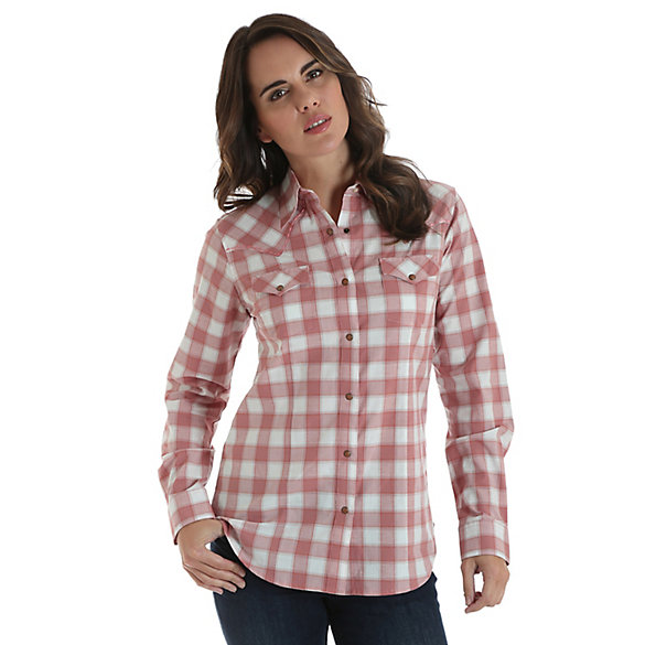 Women's Long Sleeve Western Snap Plaid Top with Stitched Yoke