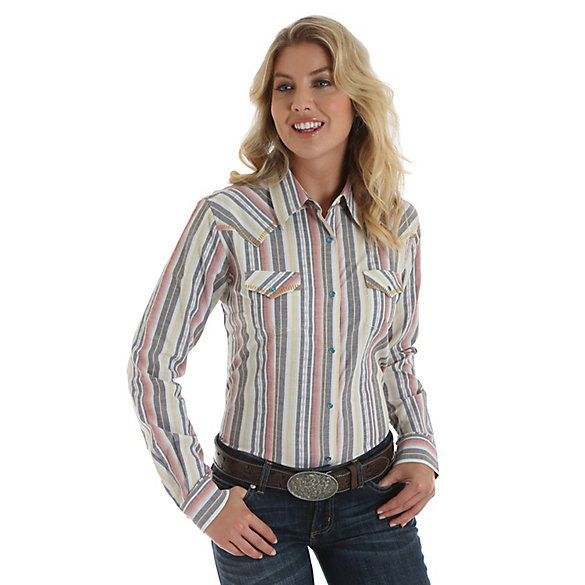 Women's Long Sleeve Vertical Stripe Print Western Snap Top