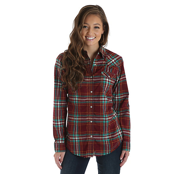 Women's Long Sleeve Western Snap Plaid Top with Raw Hem