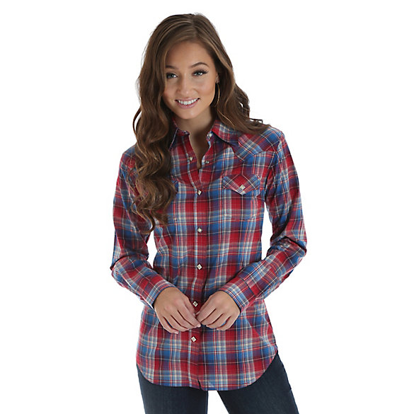 Women's Long Sleeve Western Snap Plaid Top with Bias Yokes
