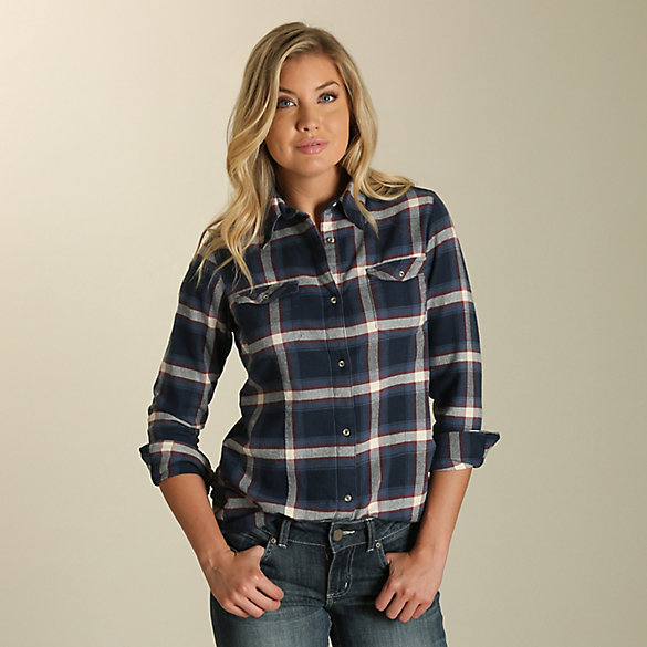 Women's Long Sleeve Boyfriend Fit Button Down Plaid Flannel Top