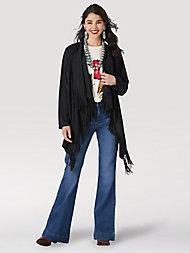 Wrangler Women/'s Asymmetrical Fringe Sweater LWK305R