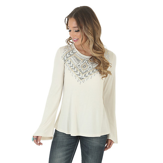 Women's Bell Sleeve Beaded Front Solid Top