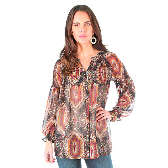 Women's Long Sleeve with Contrast Smocking at Center Front and Back Print Top