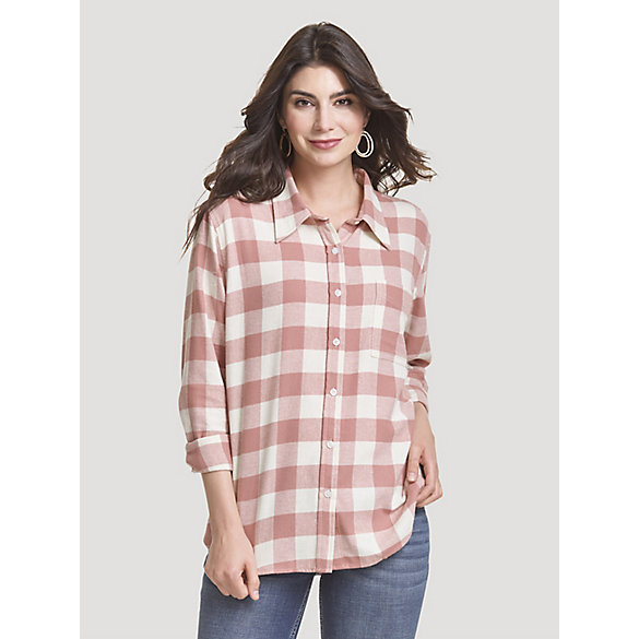 Women's Boyfriend Fit Button-Down Buffalo Check Flannel Shirt