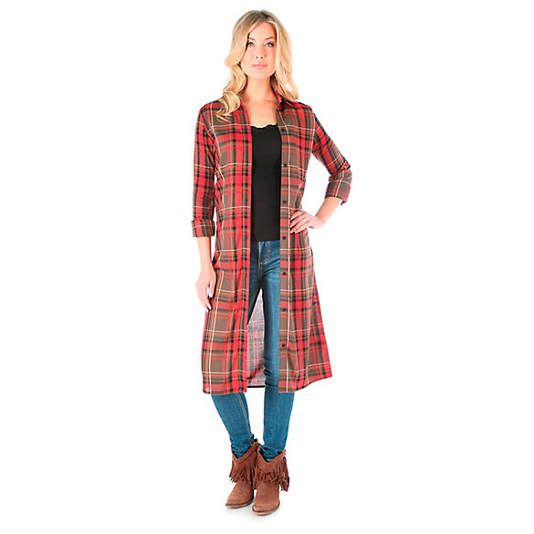 Women's Long Sleeve Plaid Tunic with Full Button Placket